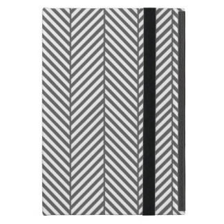 Charcoal Gray Chic Herringbone Cover For iPad Mini
