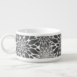 Charcoal Gray Chrysanthemums Floral Pattern Bowl