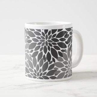 Charcoal Gray Chrysanthemums Floral Pattern Large Coffee Mug