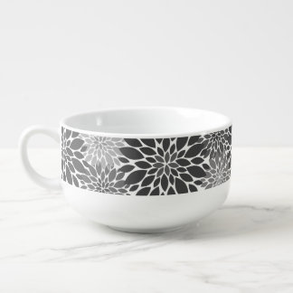 Charcoal Gray Chrysanthemums Floral Pattern Soup Mug