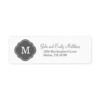 Charcoal Gray Custom Personalized Monogram Return Address Label
