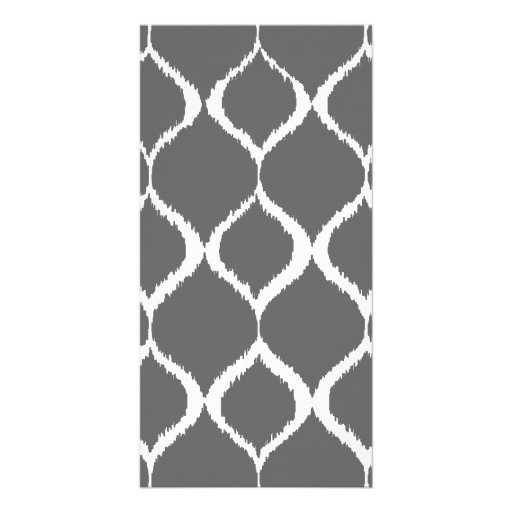 Charcoal Gray Geometric Ikat Tribal Print Pattern Customized Photo Card
