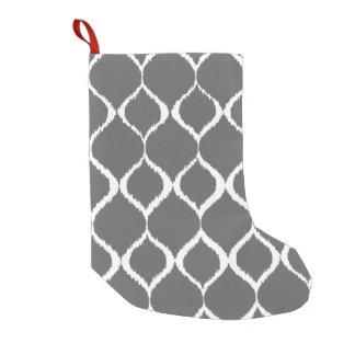 Charcoal Gray Geometric Ikat Tribal Print Pattern Small Christmas Stocking