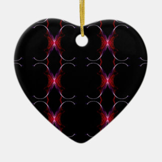 Charcoal Gray Hot Pink Seamless Pattern Ceramic Heart Ornament