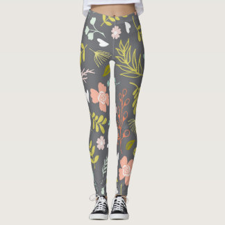 Charcoal Gray, Lime Green and Coral Print Leggings