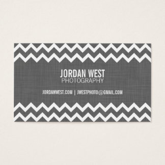 Charcoal Gray Modern Chevron Business Card