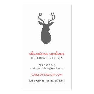 Charcoal Gray Modern Deer Chevron Stripes Business Card