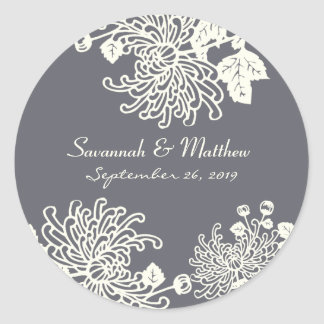 Charcoal Gray Modern Floral Wedding Heart Seal