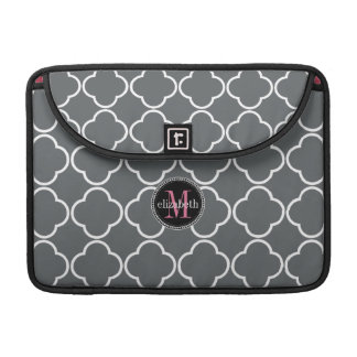 Charcoal Gray  | Pink Quatrefoil Clover Monogram Sleeve For MacBook Pro