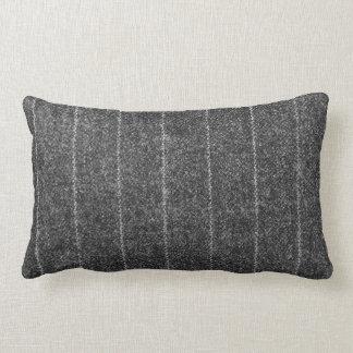 Charcoal Gray Pinstripe Tweed Slate Black Fabric Lumbar Pillow