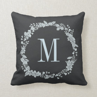 Charcoal Gray Slate Blue Monogram Wreath Throw Pillow