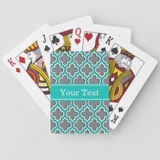 Charcoal Gray Teal White Moroccan #5DS Name Mon Playing Cards