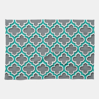 Charcoal Gray Teal White Moroccan Quatrefoil #5DS Kitchen Towel