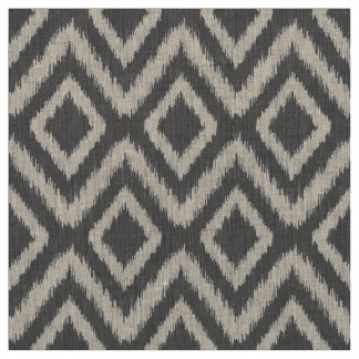 Charcoal Gray Tribal Ikat Chevron Fabric