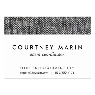 Charcoal Gray Tweed Fabric Texture Pattern Large Business Card