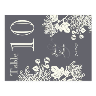 Charcoal Gray Vintage Floral Wedding Table Number Postcard