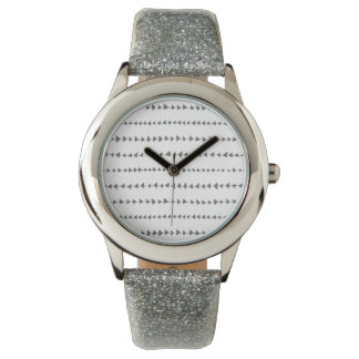 Charcoal Gray White Aztec Arrows Pattern Watches