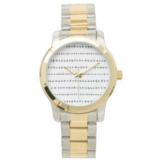 Charcoal Gray White Aztec Arrows Pattern Wristwatch