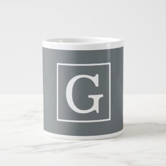 Charcoal Gray White Framed Initial Monogram Jumbo Mug
