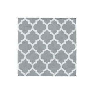 Charcoal Gray White Moroccan Quatrefoil Pattern #5 Stone Magnets