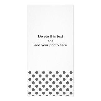 Charcoal Gray White Polka Dots Pattern Custom Photo Card