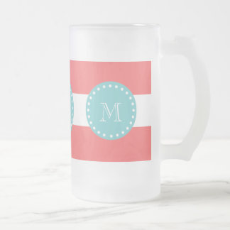 Charcoal Gray White Stripes Pattern, Teal Monogram Frosted Glass Mug