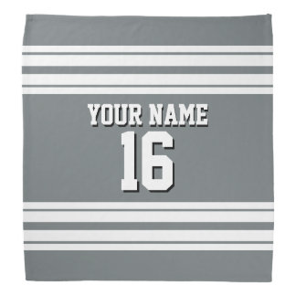 Charcoal Gray White Team Jersey Custom Number Name Bandana