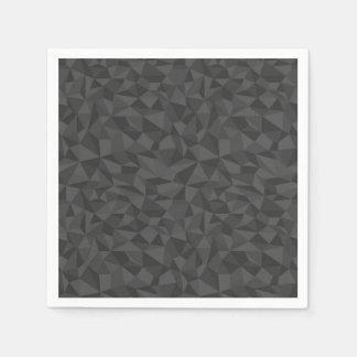 Charcoal Grey Abstract Mosaic Pattern Paper Napkin