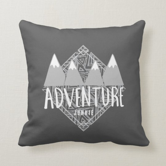 Charcoal Grey Adventure Junkie Mountains Hiking Throw Pillow