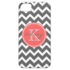 Charcoal Grey and Coral Chevron Custom Monogram Case For The iPhone 5