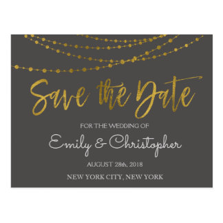 Charcoal Grey and Gold Foil Save the Date Postcard