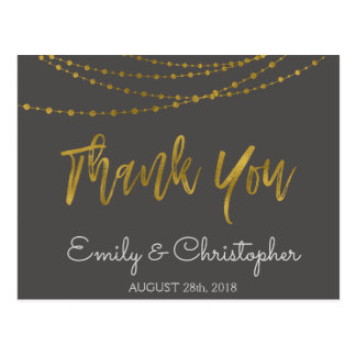 Charcoal Grey and Gold Foil Thank You Postcard
