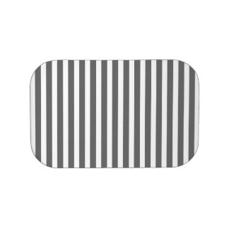 Charcoal Grey and White Cabana Stripes Lunch Box