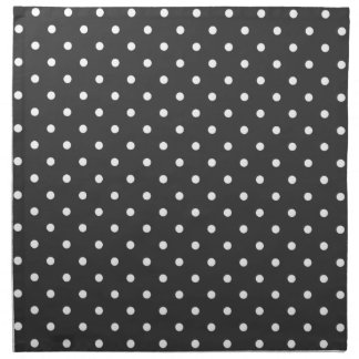 Charcoal grey and white polka dot pattern napkins