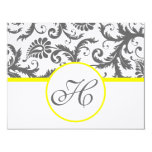 """Charcoal Grey and Yellow Enclosure Cards 4.25"""" X 5.5"""" Invitation Card"""