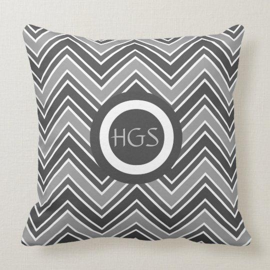Charcoal Grey Chevron Personalized Throw Pillow
