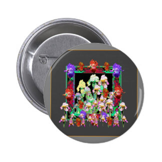Charcoal Grey Color Iris Garden Gifts 2 Inch Round Button