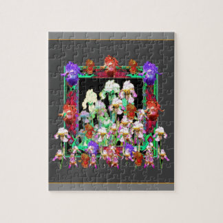 Charcoal Grey Color Iris Garden Gifts Puzzle