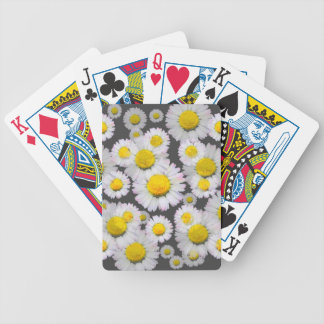 CHARCOAL GREY GARDEN OF SHASTA DAISY FLOWERS BICYCLE PLAYING CARDS