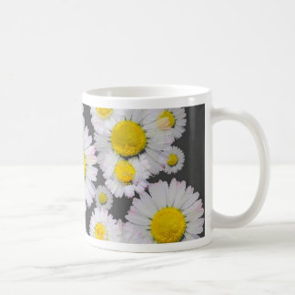 CHARCOAL GREY GARDEN OF SHASTA DAISY FLOWERS COFFEE MUG