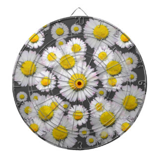 CHARCOAL GREY GARDEN OF SHASTA DAISY FLOWERS DARTBOARD