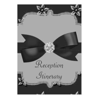 Charcoal Grey Island Flowers & Rhinestones Wedding Large Business Card