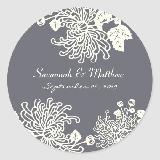 Charcoal Grey Modern Floral Wedding Heart Seal