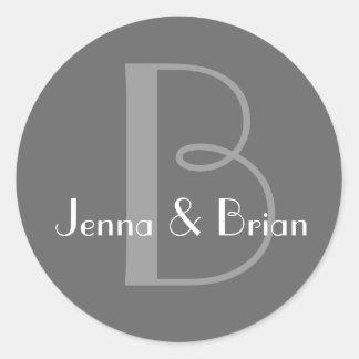Charcoal Grey Monogram B First Names Round Sticker