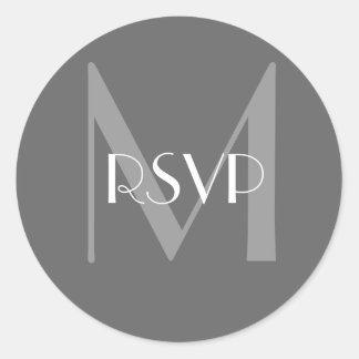 Charcoal Grey Monogram M RSVP Seal