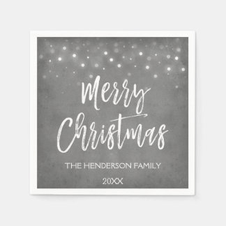 Charcoal Grey or Silver Christmas Script Holiday Disposable Napkin