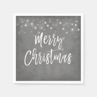 Charcoal Grey or Silver Christmas Script Holiday Disposable Napkins