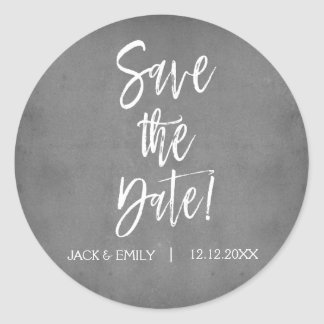 Charcoal Grey Photo Save the Date Sticker