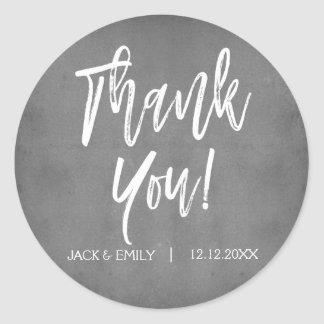 Charcoal Grey Photo Thank You Sticker