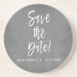 Charcoal Grey Save the Date Coaster